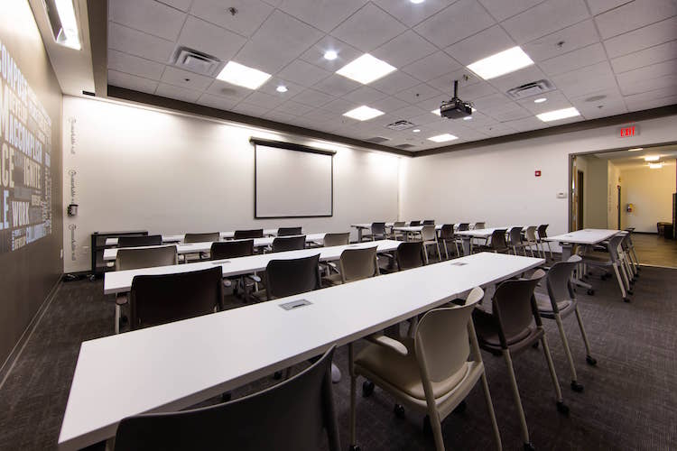 Classroom seating in large Alpharetta, GA meeting room