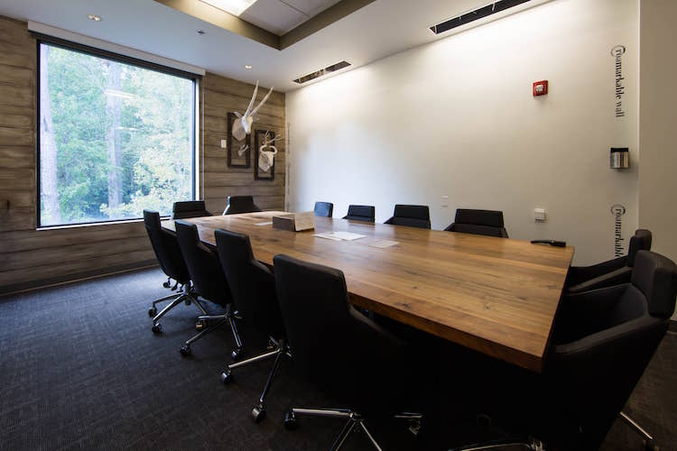 Boardroom with windows and whiteboard in Alpharetta, GA