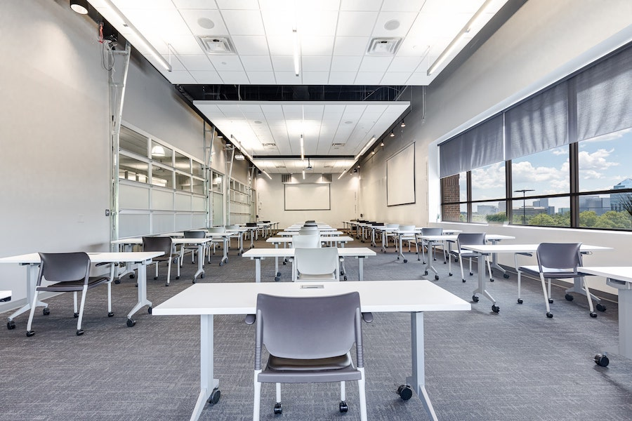 Socially distanced meeting room in Atlanta with windows