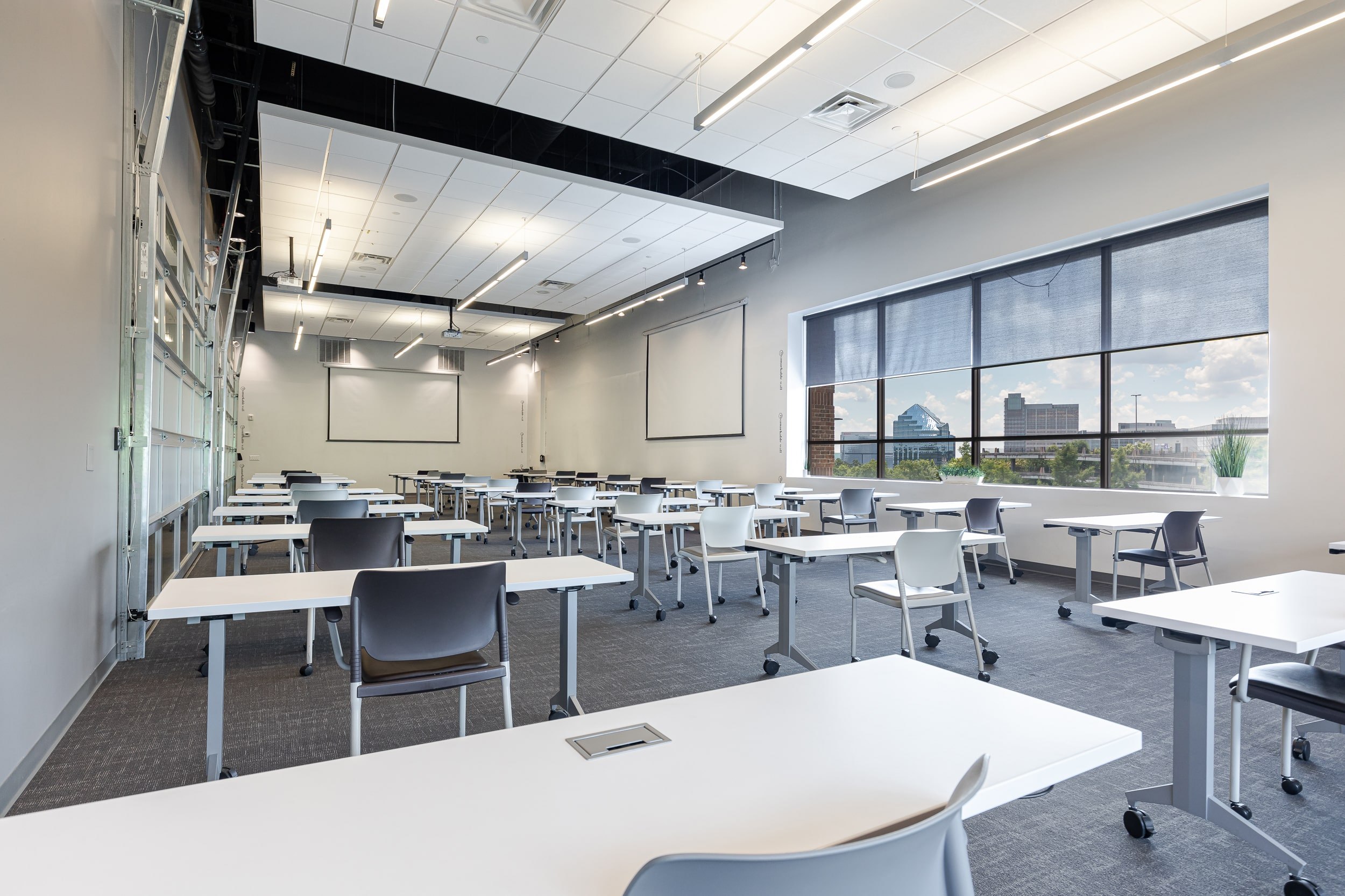 Socially distanced tables in Atlanta meeting space