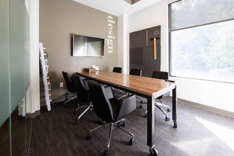 Small meeting room with window for hourly rent in Alpharetta, GA