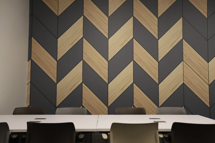 Wood wall graphic in the Theatre meeting room at Roam Perimeter Center