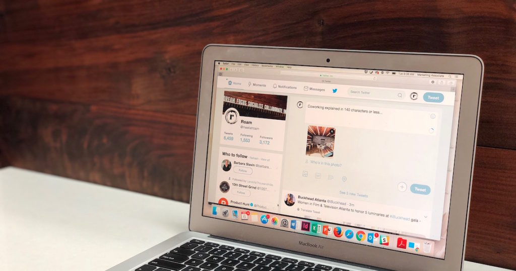 The Roam twitter account shown on a laptop