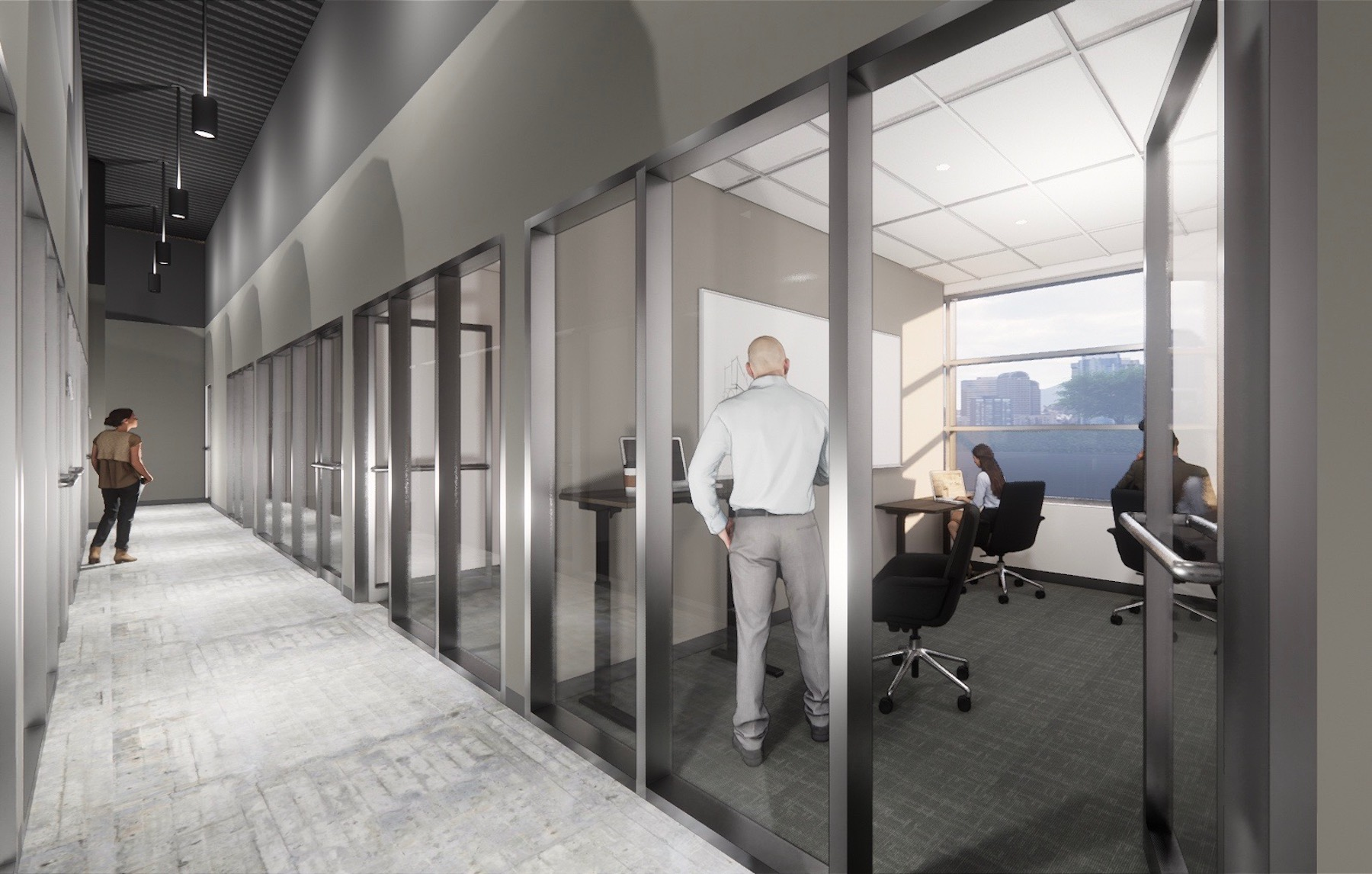 Rendering of office at Roam Lenox opening Spring 2020