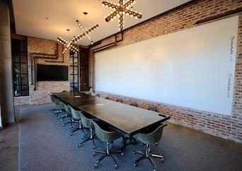 Boardroom with exposed brick in Atlanta, GA