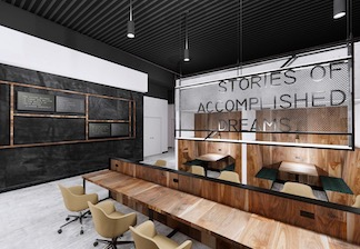 Rendering of coworking space at Roam Lenox coming Spring 2020