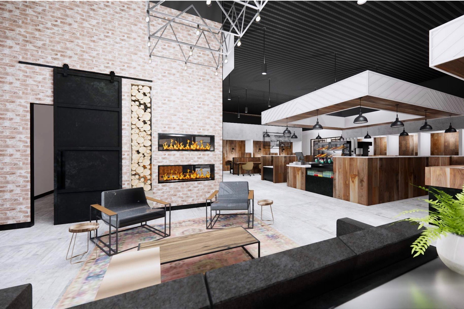 Rendering of fireplace lounge at Roam Lenox coming Spring 2020