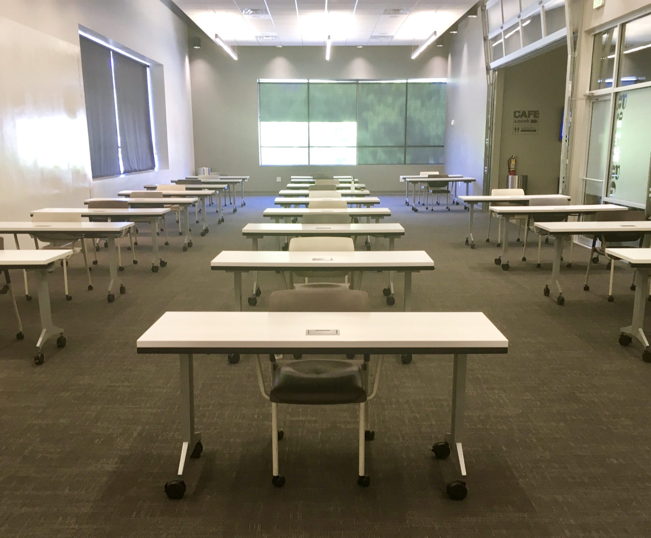 Meeting room with social distanced tables