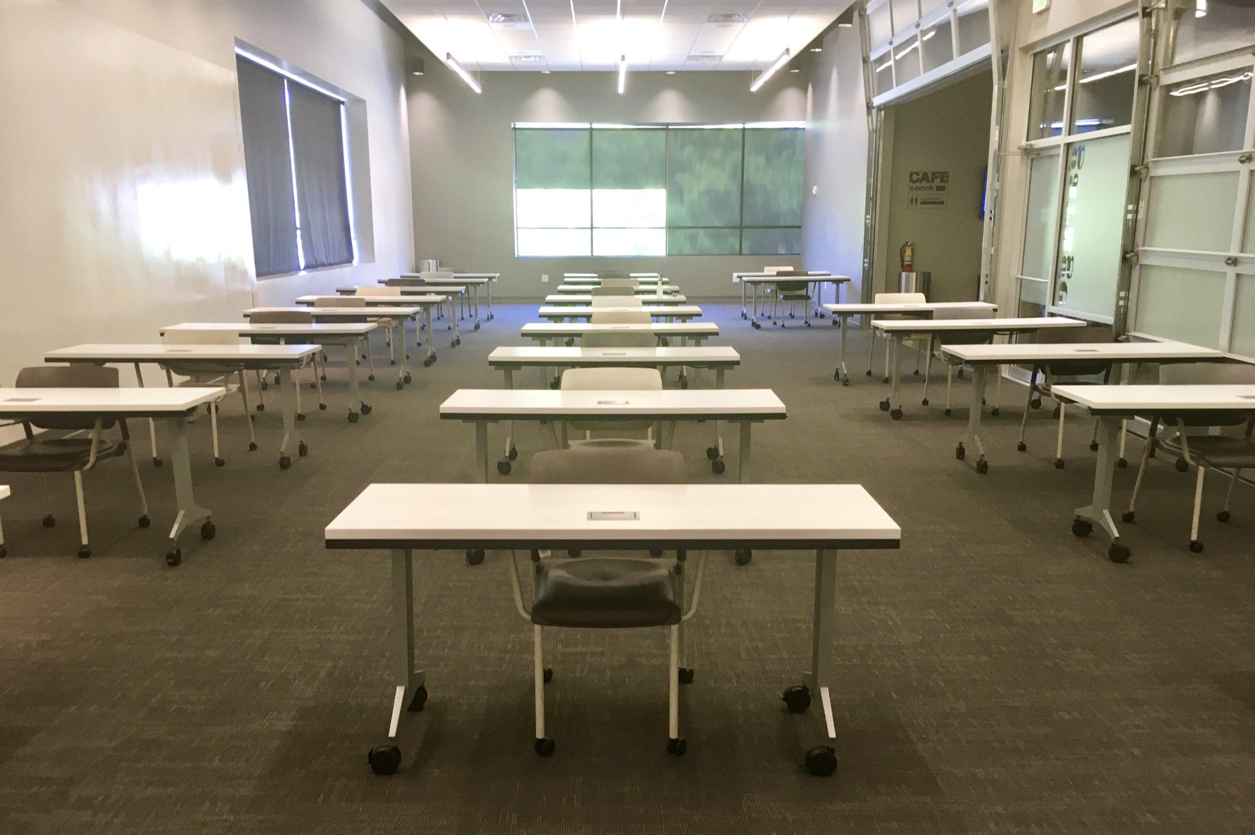 Socially distanced meeting room setup