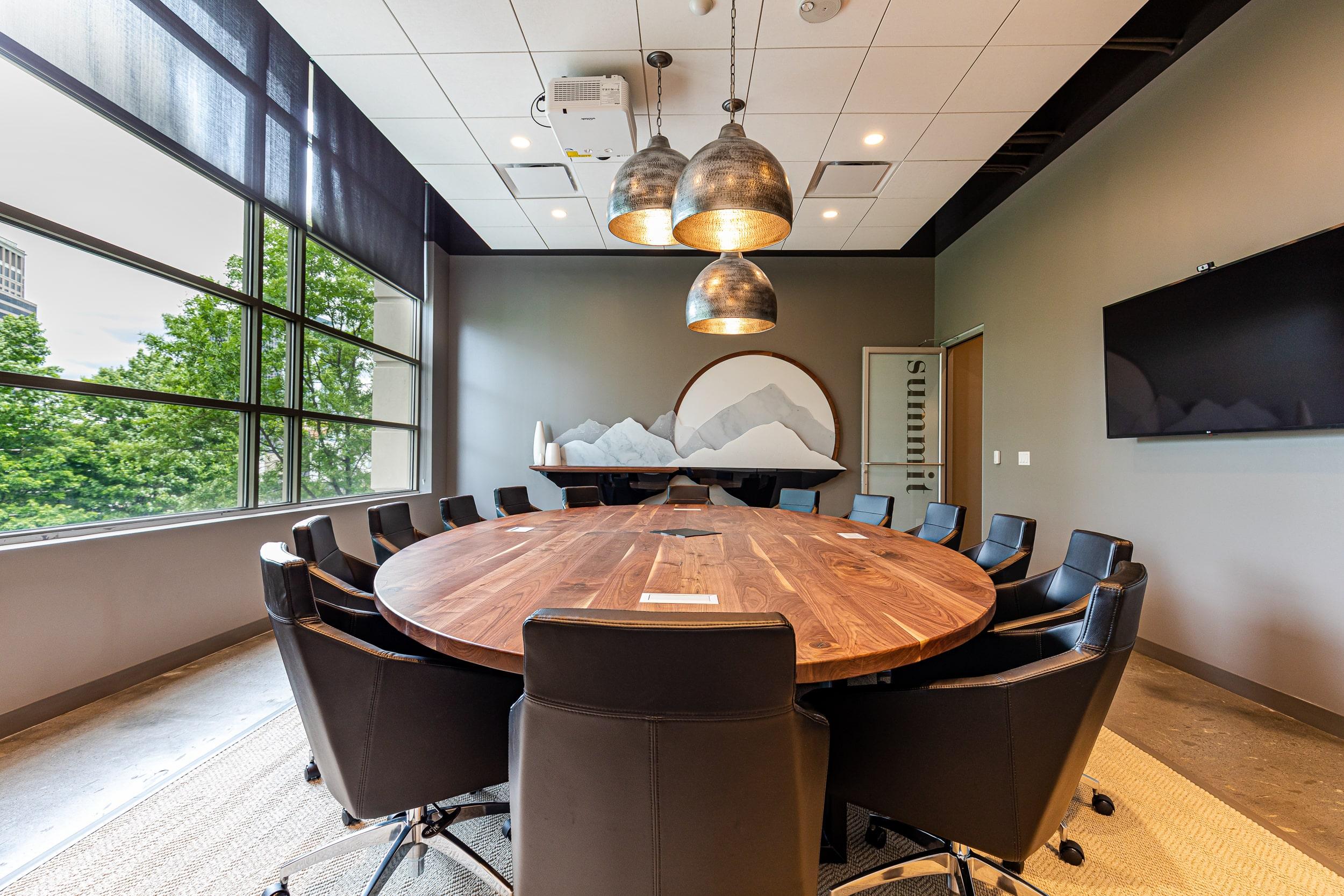 Corporate boardroom with large window in Buckhead Atlanta